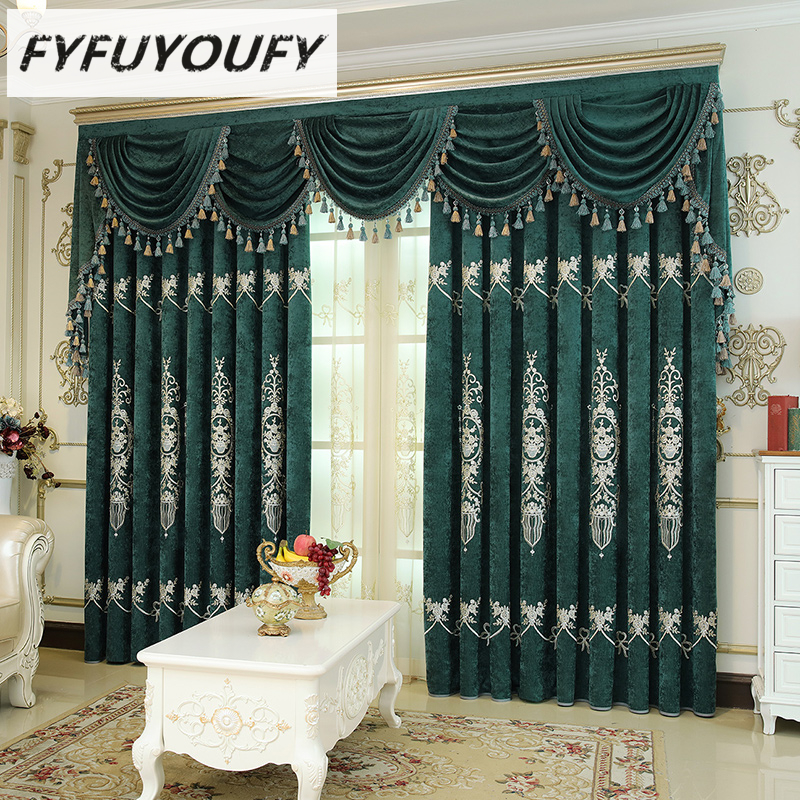 Europe luxury High-grade Blackout curtain for the living room villa curtains French Window and Kitchen Window treatment