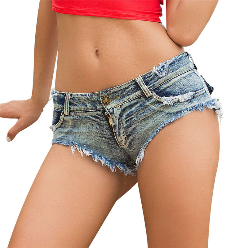 Sexy Girls Trendy Thong Shorts 2018 Newest Micro Jeans Mini Short Clubwear Denim Low Waist Ripped Pockets Pole Shorts Feminino