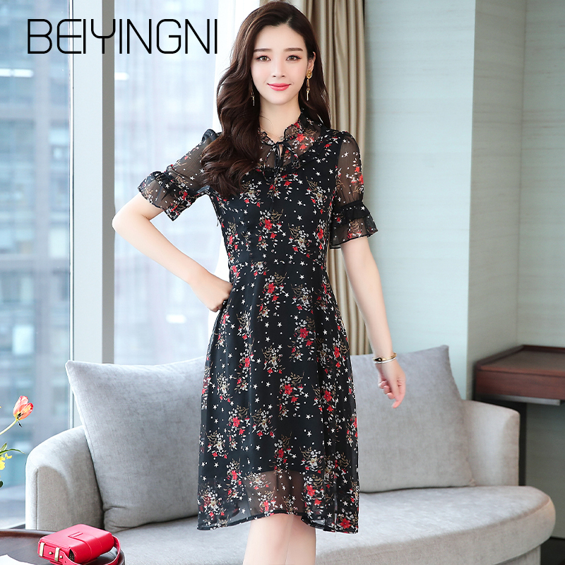 Beiyingni Vintage Black Summer Vestidos Female Chiffon Short Sleeve Printed Midi Dress Korean Ruffles M-XXL A Line Dresses Women