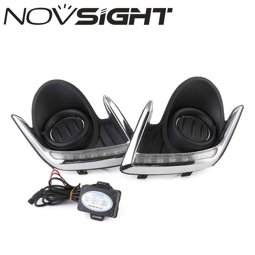 NOVSIGHT  Car LED Daytime Running Light Driving Fog Lamp DRL White Day Light For Mitsubishi Attrage 2012-2015 Free Shipping 1 pair metal shell eagle eye hawkeye 6 led car white drl daytime running light driving fog daylight day safety lamp waterproof