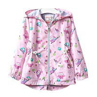 3 7T Baby Girls Jackets Hooded Windproof Kid S Clothing Cartoon Pattern Girls Coats 2018 Spring