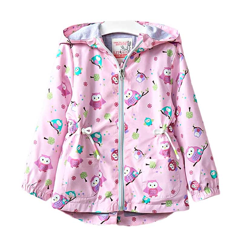 3-7T Baby Girls Jackets Hooded Windproof Kid's Clothing Cartoon Pattern Girls Coats 2018 Spring Children Outerwear & Coats