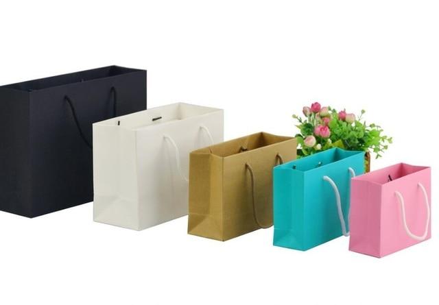12 6 10cm 10pcs Lot Logo Print Mini Paper Gift Bags With Handle