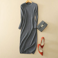 2017 Fall Fashion 100% Pure Cashmere Knitting Dress Slim fitting Pullover Warm O neck Long Sweater Sexy Dress Free Shipping