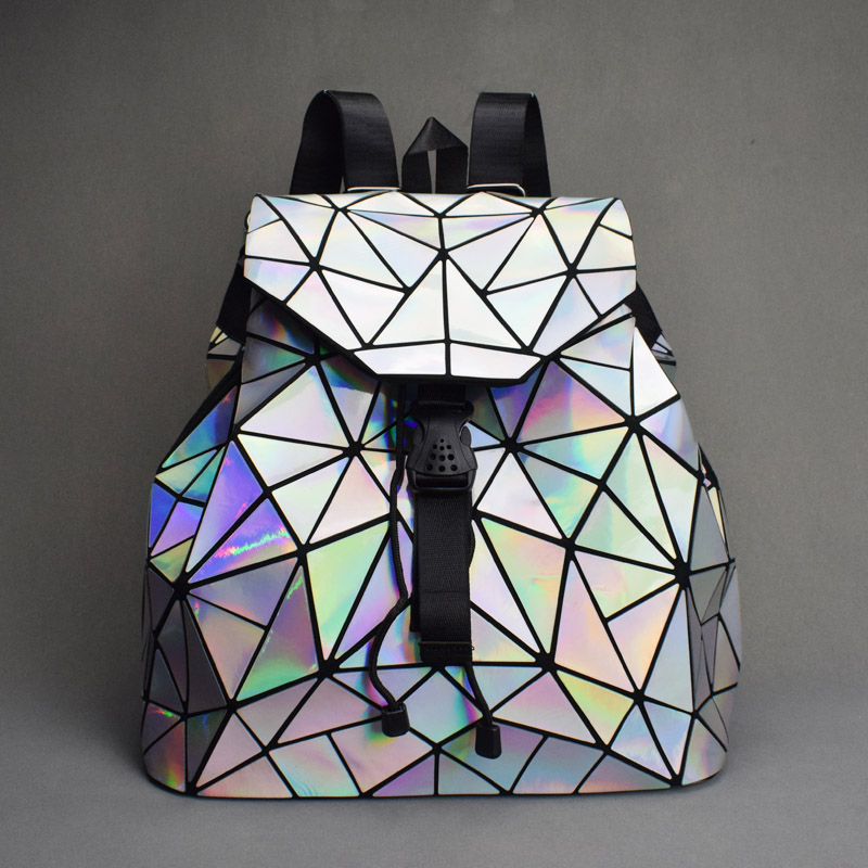 Women Backpack School-Bags Geometric Holographic Teenage Girls Fold-Student Luminous title=