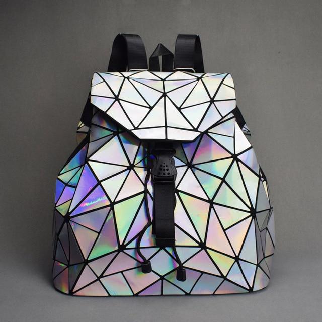 Nowy Luminous kobiety plecak szkolny Hologram moda geometryczne składane torby szkolne dla nastoletnich dziewcząt holograficzny sac a dos
