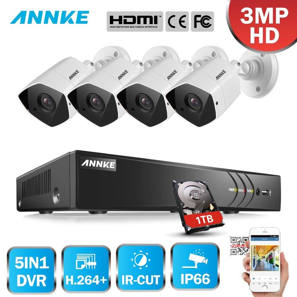 ANNKE FHD 8CH 3MP 5in1 безопасности DVR Системы CCTV комплект 4 шт защита от атмосферных воздействий контрольная пуля Камера наблюдения Системы комплект