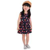 Wholesale Summer Princess Sleeveless Printing Bowknot Strawberry Festival Lace Christening Events Kids Dresses For Girls Clothes