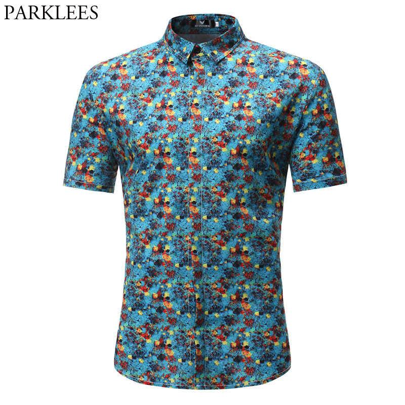 Синие мужские рубашки в цветах 2018 летние Брендовые с коротким рукавом Гавайские мужские платья повседневные тонкие рубашки подходят мужские рубашки с цветочным принтом Chemise 3XL