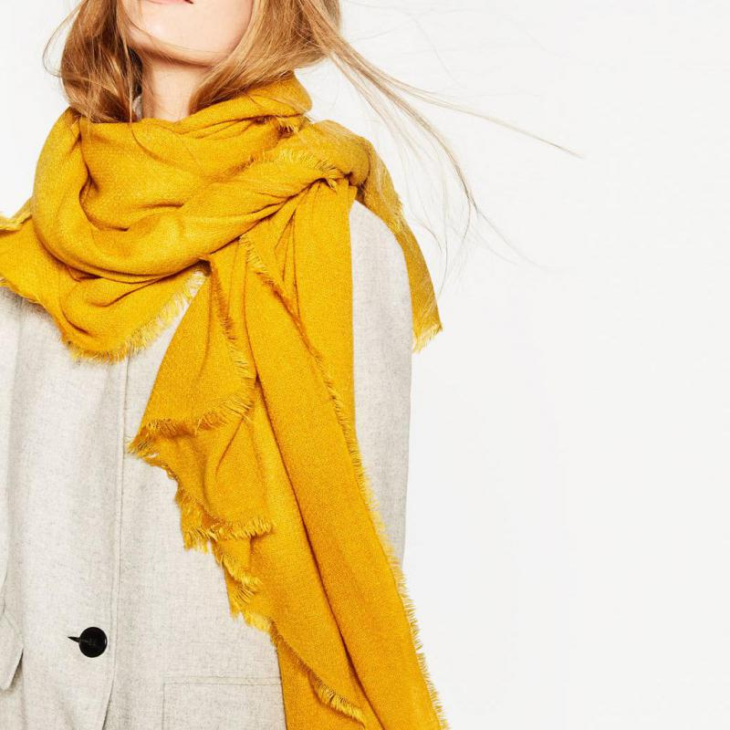 2016 Winter New Supersoft Oversized Scarf Yellow Cashmere Feel Scarves for Women Men Brand Designer Scarf Christmas Coat Cape