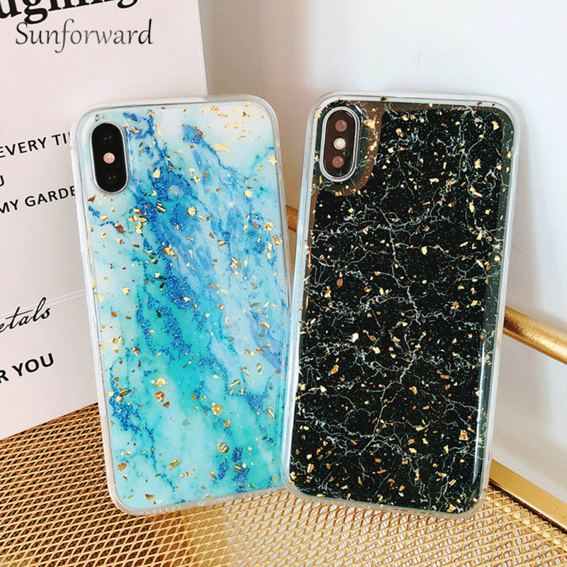 Luxury Gold Foil Marble Phone Cases For iPhone X Cover Silicon Soft TPU Cover For iPhone 7 8 6 6s Plus 10 Glitter Case Coque