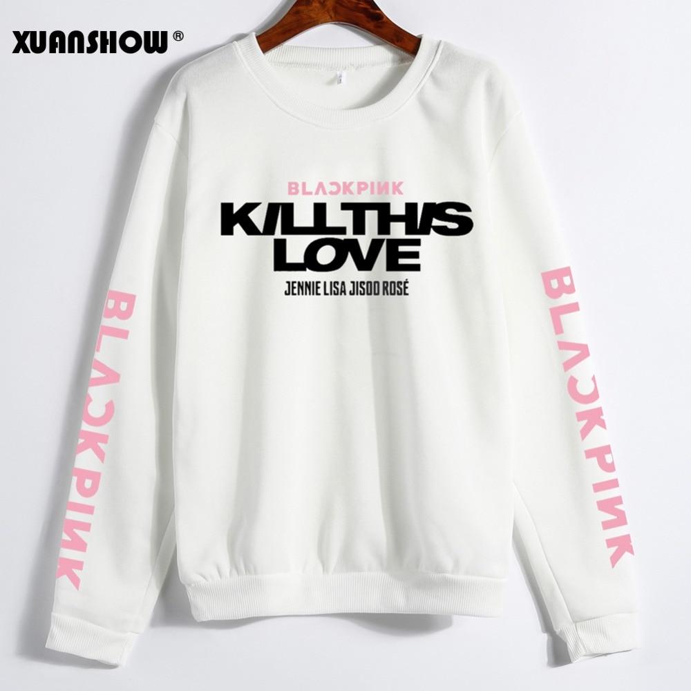 XUANSHOW Unisex Lovers Casual Clothes Korean BLACKPINK KILL THIS LOVE Album Letters Sweatshirts For Women Men Moletom 5XL