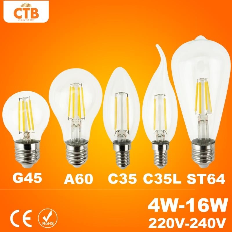 Good E27 E14 Antique LED Edison Bulb 220V Retro LED Filament Light Vintage LED Glass Bulb Lamp 4W 8W 12W 16W Candle Light Lamp карандаш для губ provoc semi permanent gel lip liner 28 цвет 28 sexy cabernet variant hex name 8f353a