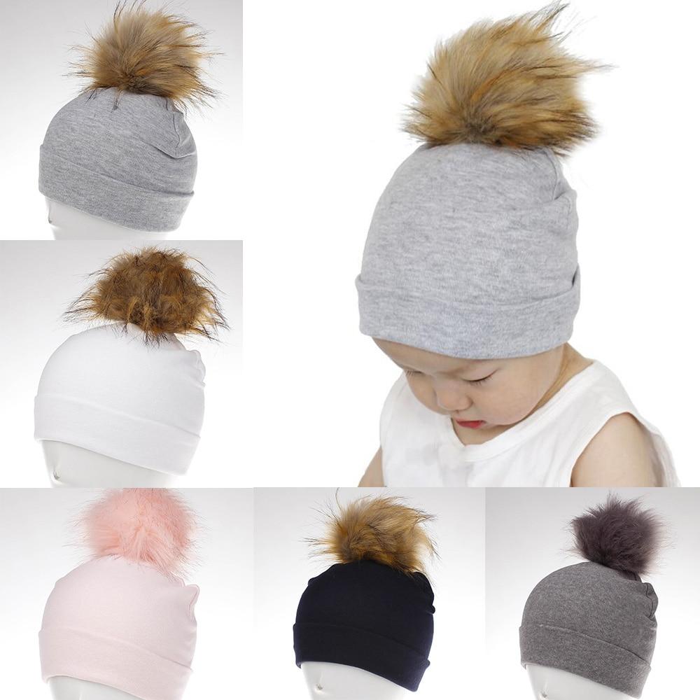 c7c8704845d Detail Feedback Questions about Baby Hat Crochet Faux Fur Baby Cap Cotton  Pompom Bobble Hat For Kids Winter Children Girl Boy Wool Fur Caps  Children s Hats ...