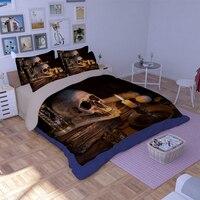 Nueva Llegada!! Tencel hojas Único Fresco del cráneo 3D luz de las velas y funda nórdica juegos de cama individual cama super king size esqueleto