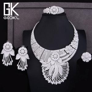 Image 4 - Godki 高級タッセルフラワーキュービックジルコン cz ナイジェリアジュエリー女性の結婚式インドビーズジュエリーセット 2018