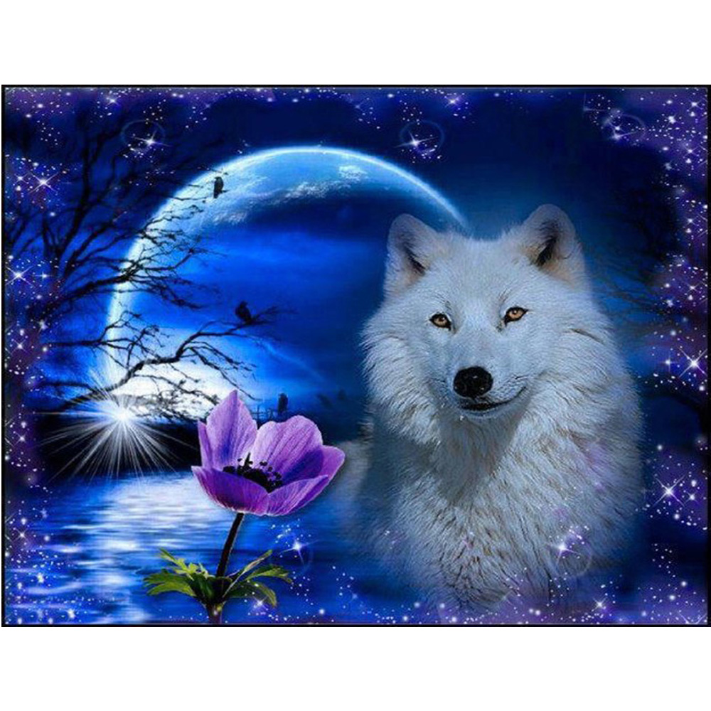 5D DIY Diamond Painting Cross Stitch Animal  Moonlight wolf Diamond Embroidery Mosaic For Home Decoration Painting H607