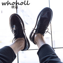 Whoholl New Hollow Outs Breathable Men Formal Shoes 7 Style Pointed Toe Patent Leather Oxford for Dress Business