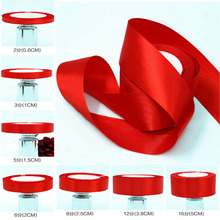 25Yards/Roll red silk satin ribbon Bow wedding Decoration DIY fabric ribbons for crafts christmas Gifts Card Wrapping Supplies