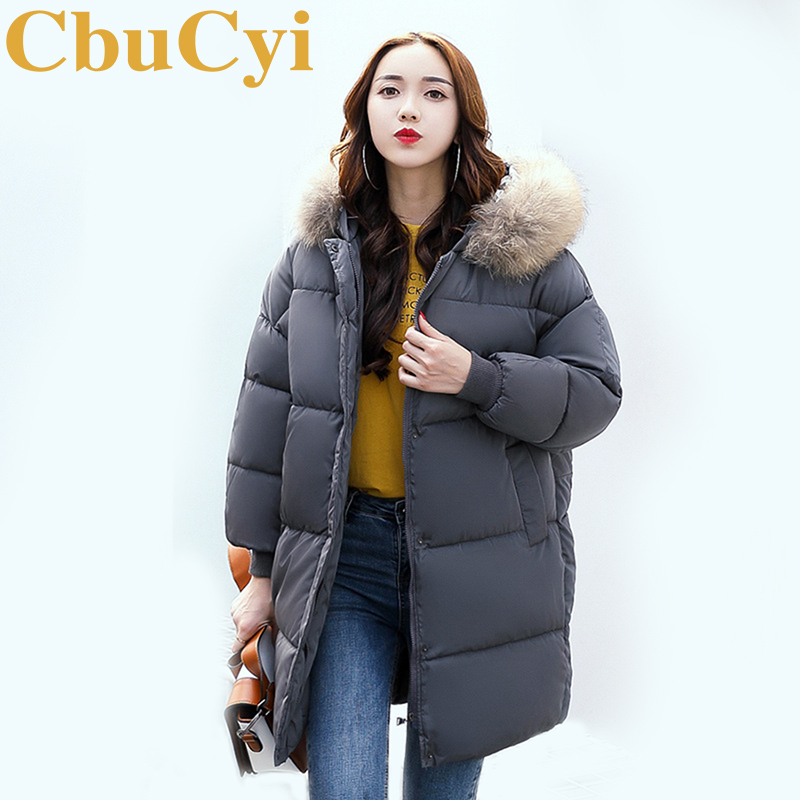 CbuCyi Winter Hot Fashion Overcoat Women Long Hooded Jacket Faux Fur Collar Thickening Coat Female Outwear Casual Big Overcoats fashion european winter jacket women big fur collar hooded coat female medium long down parka outwear loose overcoat hn156