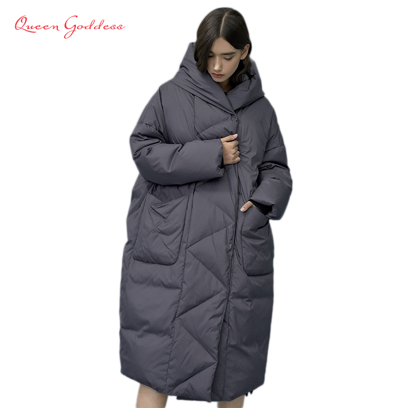 Winter And Autumn Outwear Women White Duck X-Long Down Warm Jacket In Hooded Fashion Cocoon Parkas Plus Size 7XL Design