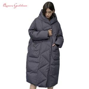 Женская зимняя и осенняя верхняя одежда, длинная теплая куртка-кокон с капюшоном на белом утином пуху, дизайнерские парки размера плюс 7XL