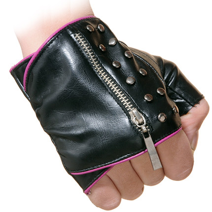 bac4ebc4e women's fingerless gloves faux leather dressing mittens lady's sexy rivets  zipper gloves black/red/silver/brown