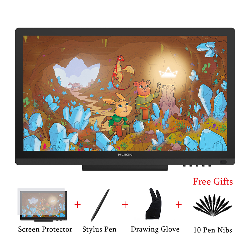 HUION KAMVAS GT-191 moniteur d'affichage de stylo 8192 niveaux IPS LCD moniteur numérique graphique dessin moniteur avec des cadeaux