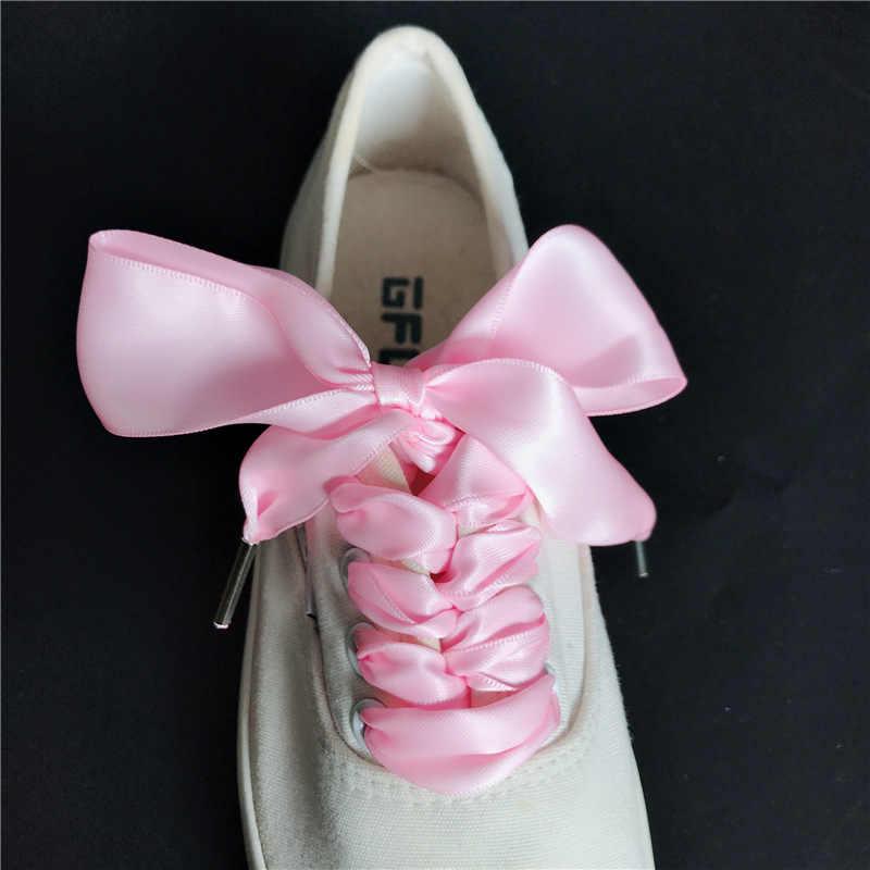 0a732c1583b3 ... 1 Pair Width 3cm Thin Satin Ribbon Shoelaces Metal Head Polyester Shoelaces  Shoe Laces Strings Cheap ...