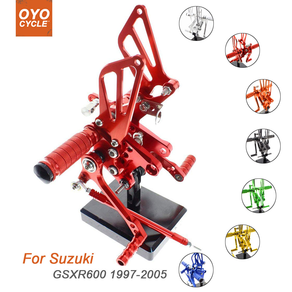 For Suzuki GSX R600 1997 2005 Motorcycle Rear Set Accessories CNC Adjustable Rearset Foot Pegs GSXR600 Foot Rests Footpegs in Foot Rests from Automobiles Motorcycles