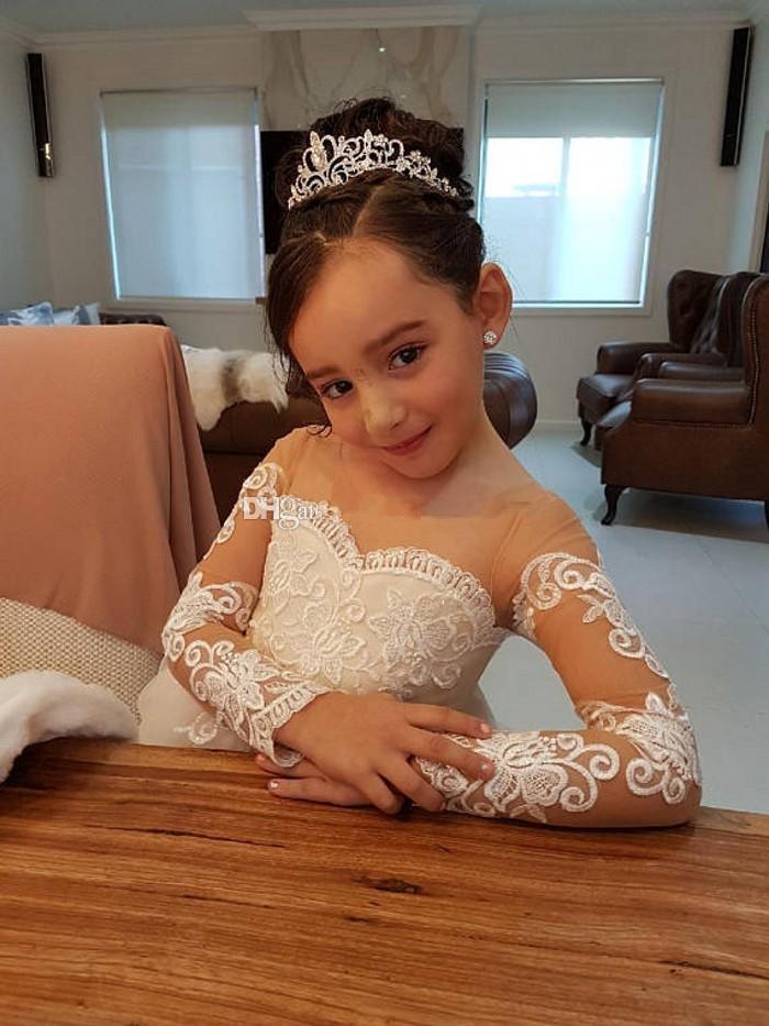 Elegant Ball Gown   Flower     Girls     Dresses   For Weddings Sheer Neck Long Sleeves Applique Lace Tulle Children   Girls