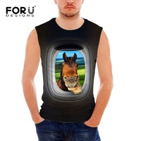 FORUDESIGNS Sleeveless Fitness Men Tank Tops Airplane Dairy Cow Design Clothes Man Bodybuilding Summer Vests Blusa