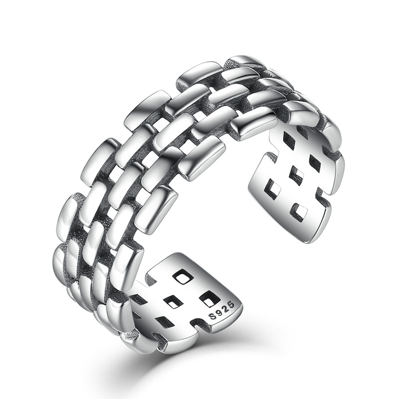 2019 New Authentic 925 Sterling Silver Watch  Chain Patterns Finger Adjustable Band Rings Women & Man  Fine Jewelry VSR006