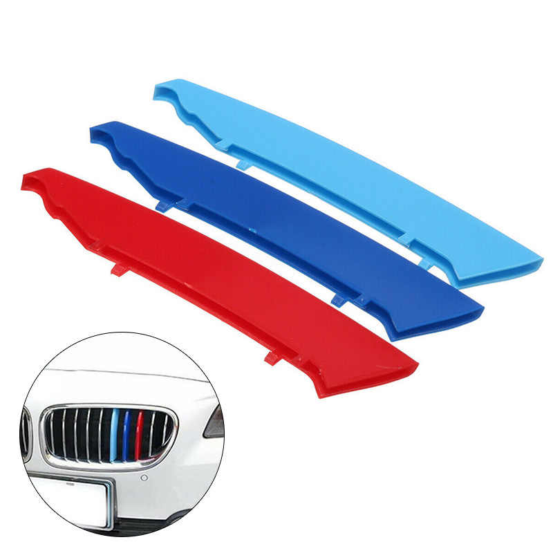 3-Color Car Grille Bar Cover Stripe Clip Decal High Quality For BMW 3 Series E90 E91 04-08
