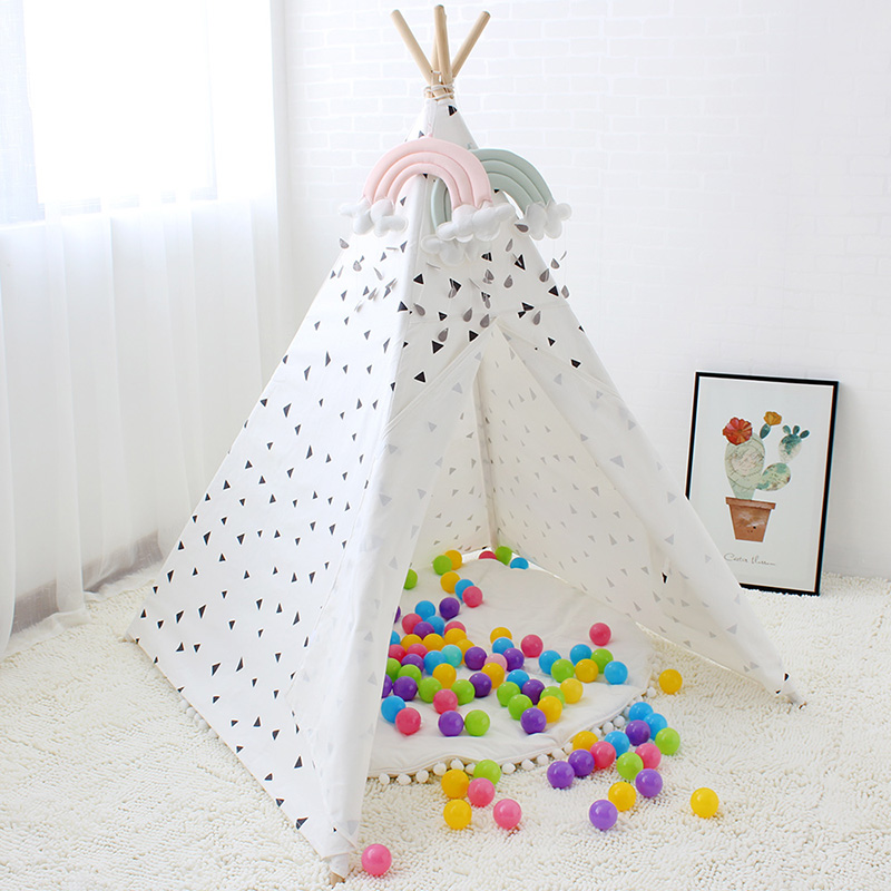 Four Poles Kids Tent Black Triangle Printed Teepee Children Play Tent Cotton Canvas Tipi for Baby Room Toy Ins Hot kids teepee tipi tent for kids white children play house toy kids baby room indoor big outdoor teepees for children