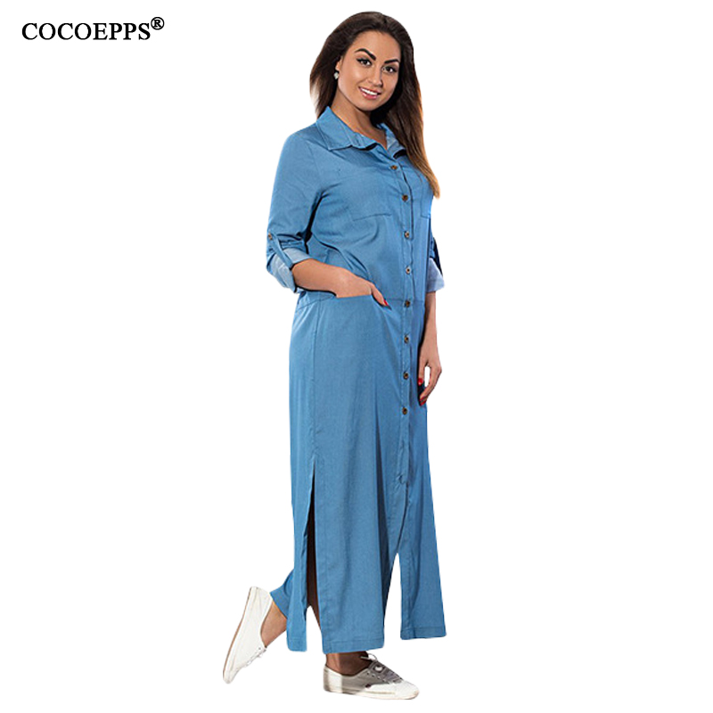 2017 Autumn New Denim Women Long Dress Fashionable Big Size Casual Slit Fmale Maxi Dresses Plus Size Full Sleeve Button Vestidos