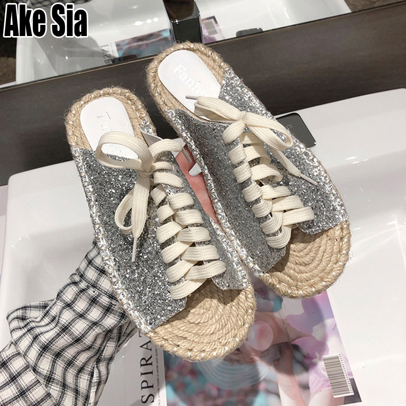 New Women Casual Lace Up Fringed Babouche Plaited Straw Hemp Flax Soles Flat Lazy Loafers Mules Scuff Slides Slippers Shoes A727New Women Casual Lace Up Fringed Babouche Plaited Straw Hemp Flax Soles Flat Lazy Loafers Mules Scuff Slides Slippers Shoes A727