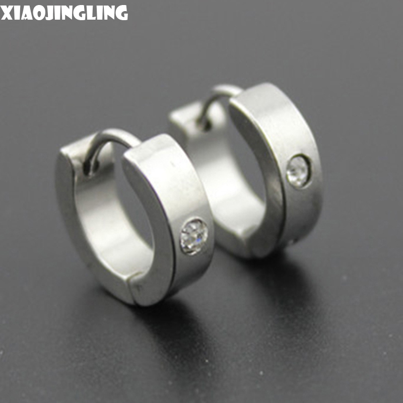 XIAOJINGLING 1 Pair Fashion Punk Style Titanium Steel Rhinestone Mens Women Round Ear Studs Hoop Piercing Earrings Black Sliver