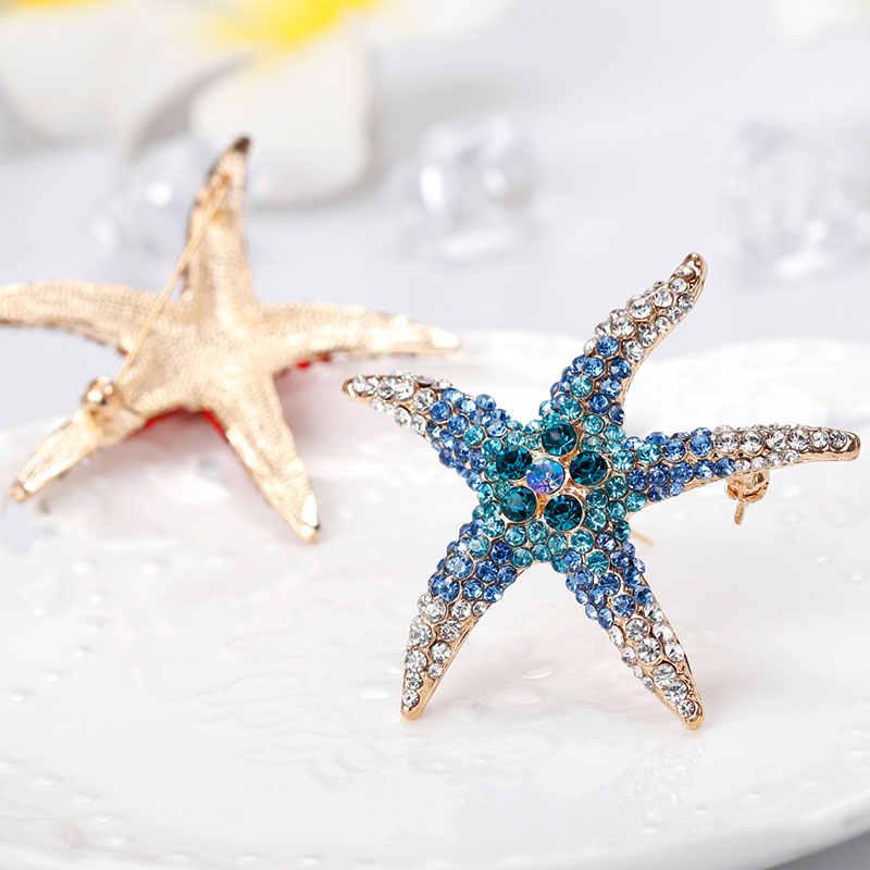 Cukup AAA Penuh Rhinstones Bintang Laut Bros Merah Biru Hijau Biru Laut Hewan Bintang Bros untuk Wanita Bros Pin Perhiasan Aksesoris