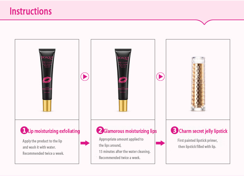 BIOAQUA Exfoliating Gel / Lip Film /Jelly Liquid Lipstick Lip Care Set Beauty Makeup Liquid Lipstick Pink Tender Moisturizing 37