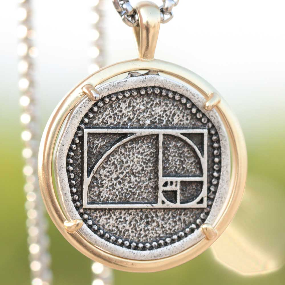 <font><b>Fibonacci</b></font> Spiral Necklace Medieval Men Women Golden Ratio Number Integer Sequence Mathematics Medal Math Jewelry Dropship image
