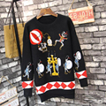 Famous Sweater New 2016 Autumn Winter Fashion Knitting High Quality Cartoon Embroidery Black Loose High Street Sweaters