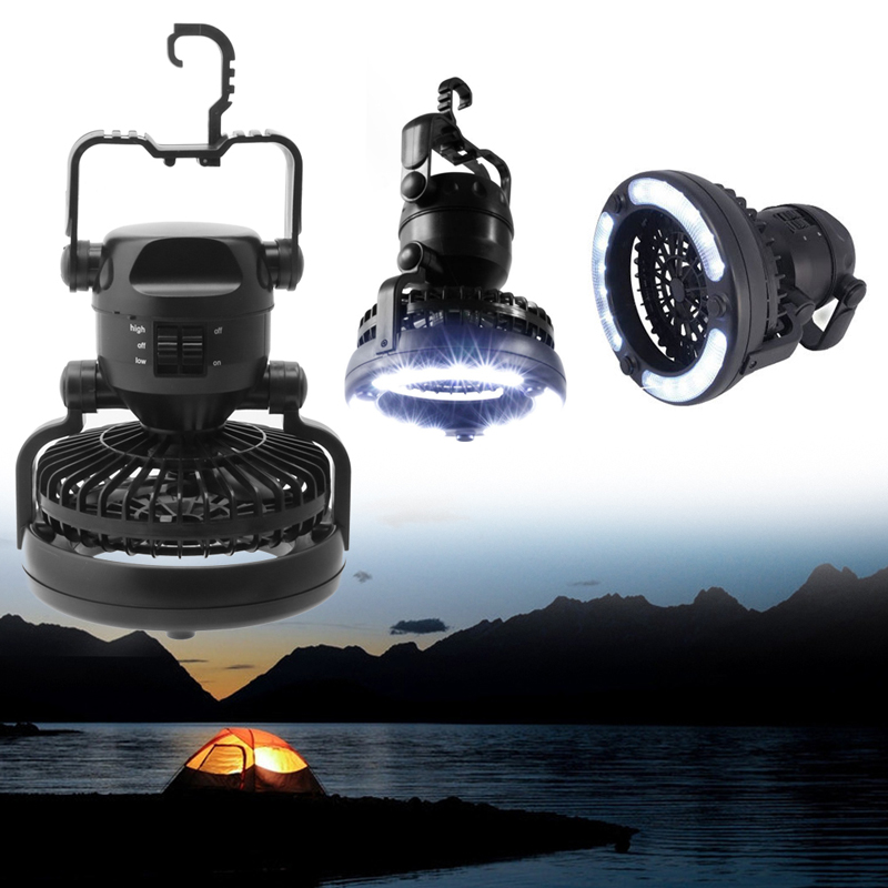 2 In 1 Camping <font><b>Ceiling</b></font> Fan Light Hanging Tent Lamp Lantern Outdoor 18 LED Lamp