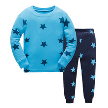 Купить с кэшбэком New Cartoon Kids Pajama Sets Children Sleepwear Boys Nightwear Print Christmas Pajamas Retail Toddler Baby Pyjamas