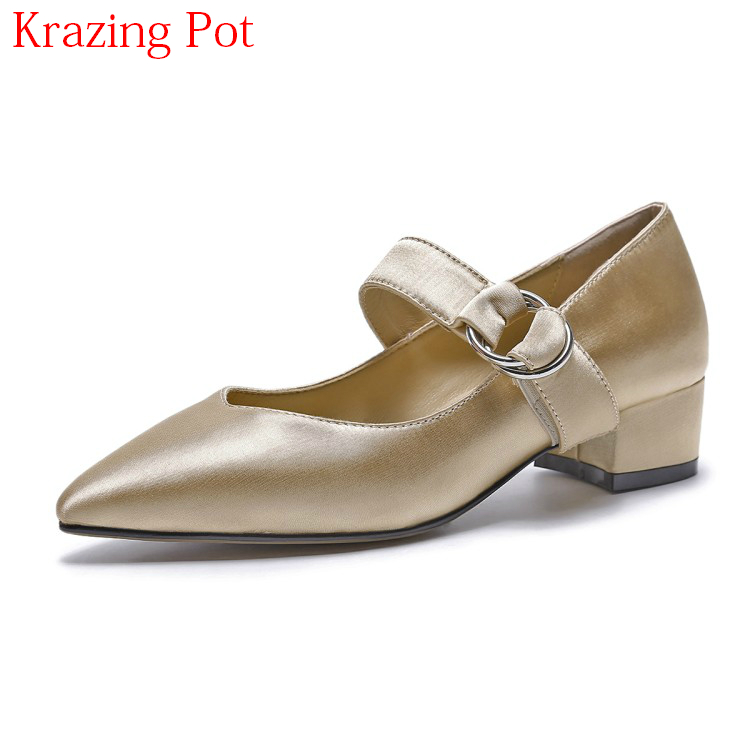 2018 Silk Sheep Skin Brand Spring Shoes Thick Heel Shallow Pointed Toe Women Pumps Metal Mary Janes Autumn Office Lady Shoes L22 spring autumn shoes woman pointed toe metal buckle shallow 11 plus size thick heels shoes sexy career super high heel shoes