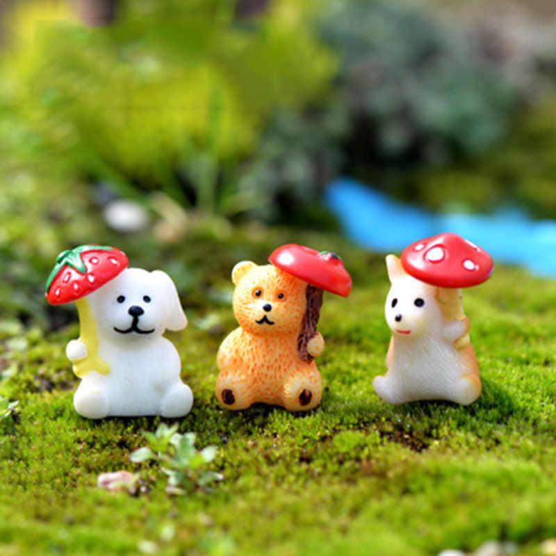 ZOCDOU 1 Stück Regnerischen Tag Regenschirm Tier Bär Hund Hamster Russland Spanien Indien Kleine Statue Figurine Handwerk Ornament Miniaturen