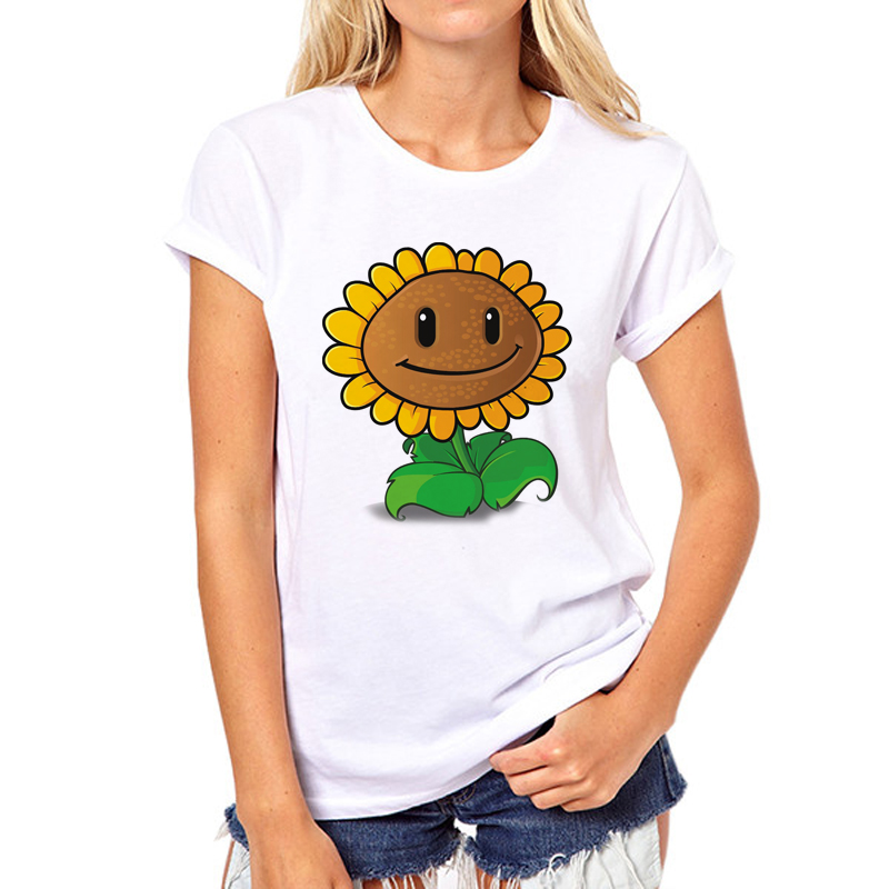Plants VS Zombies Women white T shirt New Summer Sunflower Short-sleeve Casual Basic T shirt Custom Girl T-shirt 53N-3#