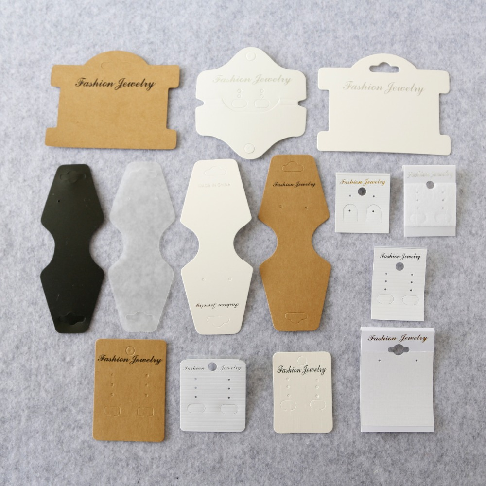 100pcs Handmade Kraft Jewelry Cards,Necklace/Earring/Hairpin/Pendant Packing Cards,Love Jewelry Displays Cards