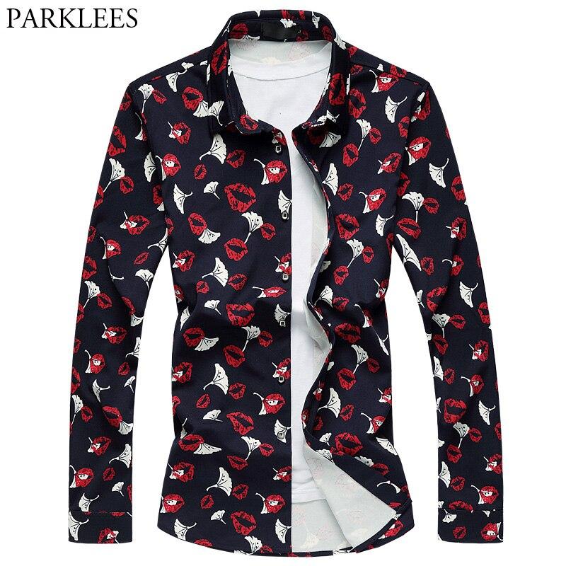 Mens Plus Size Floral Dress Shirt 2018 New Big Red Lip Print Shirt Men Slim Fit Long Sleeve Shirts Camisa Social Masculina 6XL