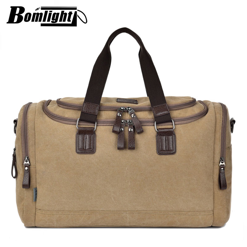 4 Colors Canvas Leather Men Travel Bags Large Capacity Men Duffle Bags Travel Tote Bags Luggage Bags